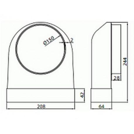 Kolano łączące przekrój 204x60 ze średnicą zewnętrzną fi 150 • Supertuba 2-4x60 • VENTS • Profesjonalna Wysyłka