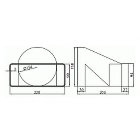 Łącznik przekrojów zmiennych z przesunięciem osi fi 150 MegaDuct • Vents 970 • PROFESJONALNA WYSYŁKA
