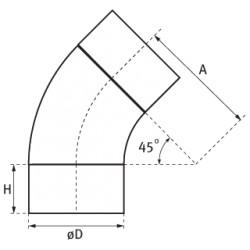 Kolano wentylacyjne 45° z blachy ocynkowanej