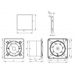Wentylator łazienkowy (osiowy) Silent Trax+ stal nierdzewna, 26 dB • KWS 100 W + PTI 100 • Awenta SYSTEM + • bardzo cichy • 690