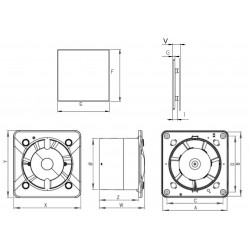 Wentylator łazienkowy (osiowy) Silent Trax+ stal nierdzewna , 26 dB • KWS 100 H + PTI 100 • Awenta SYSTEM + • bardzo cichy • 690