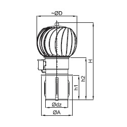 Turbowent tulipan hybrydowy TH 150 CHAL-T
