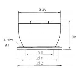 Wentylator dachowy przeznaczony do pracy ciągłej w wysokich temperaturach CTVB/4-250N